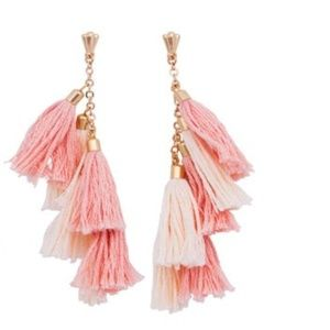 Ettika 18k Gold plated Tassel Earrings in Pink